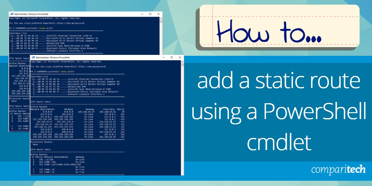 Add a static route using a PowerShell cmdlet